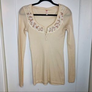 Free People Thermal embroidered floral neck yellow